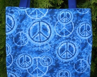 Peace Sign Tote Bag on blue tie dye Retro 70s Groovy  Fully Lined Handmade Purse