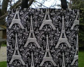 Eiffel Tower Tote Bag Paris France Champ de French Vacation Handmade Purse
