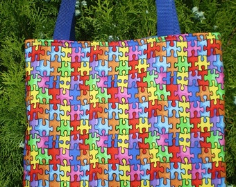 Autism Awareness tote bag Puzzle Pieces Handmade Purse LIMITED