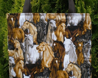 Horse Horses Tote Bag Collage Herd Stampede Limited