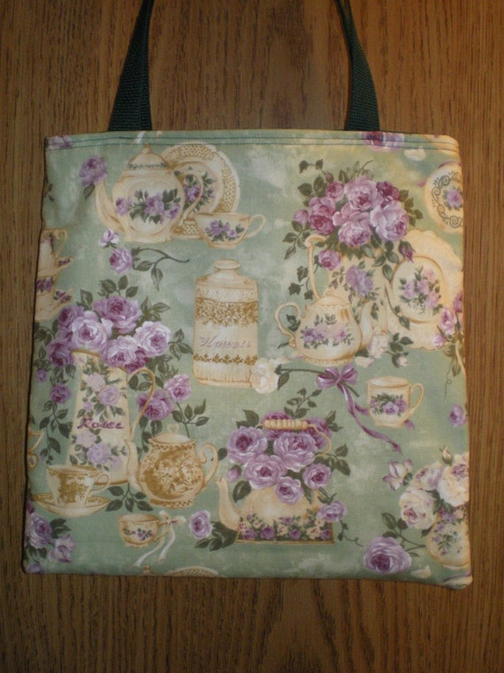 Teapot Tea cup tote bag Romantic Flowers Roses LIMITED