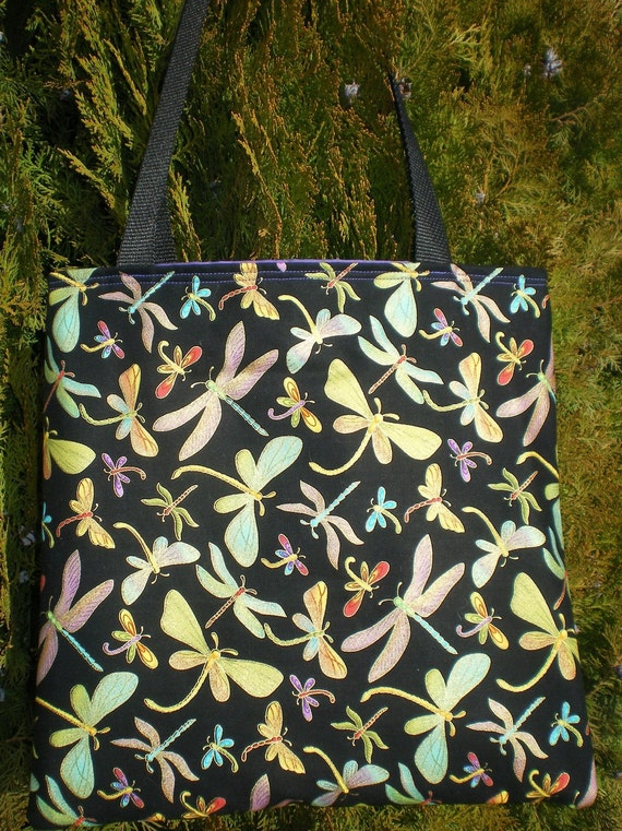 Dragonfly tote bag Dragonflies shiney pastel black purple Limited