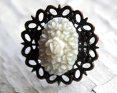 Caroline Vintage Look Brass and White Floral Ring