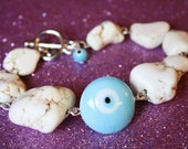 Bohemian White Turquoise Evil Eye Toggle Bracelet