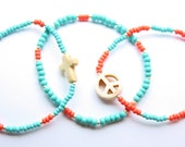 Bohemian Girl Teal and Coral Howlite Cross Bracelet Trio