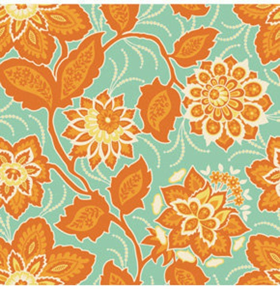 SALE - Ornate Floral/Amber  VOILE by Joel Dewberry - Heirloom Collection - One Half Yard