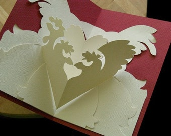 Kirigami French Hens Pop-up Card, Make Yourself