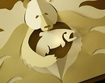 Kirigami Grizzly Bear Pop-up Card, Make Yourself
