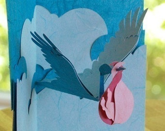 Kirigami Stork and Baby Pop-up Card, Make Yourself