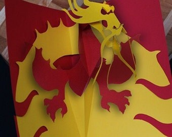 Kirigami Chinese Dragon Pop-up Card, Make Yourself