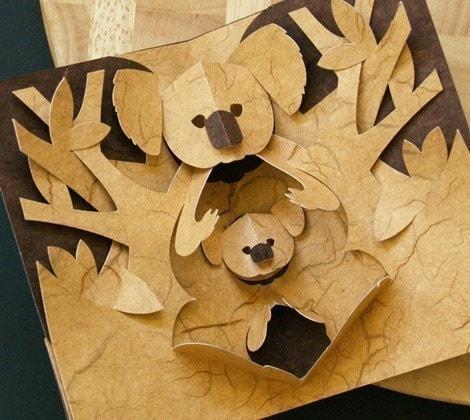 Kirigami koala pop up card make yourself for Kirigami paper art