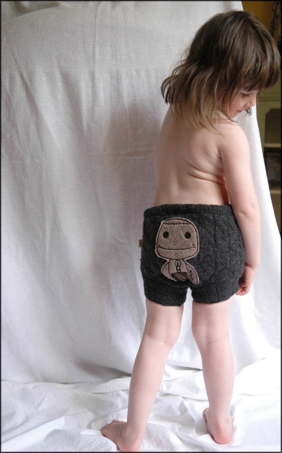 CATCHICK6 CREATIONS PRESENTS LITTLE BIG PLANET SACK BOY WOOL DIAPER COVER WOOLIE WOOLIES SHORTIES SOAKER SHORTS