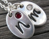 Initial Jewelry Double Sparkle Monogram Pendant PMC Birthstone Personalized Initial Mother New Mom Grandma Necklace