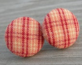 Fabric Button Earrings Orange Plaid Cotton Sterling Posts