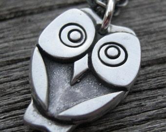 Desmond, sterling silver owl pendant necklace PMC necklace