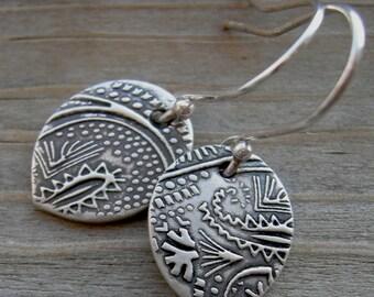 Magical Mendhi Earrings Fine Silver Teardrop PMC