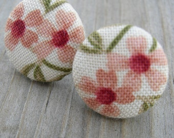 Fabric Button Earrings Soft Peach Floral Sterling Posts
