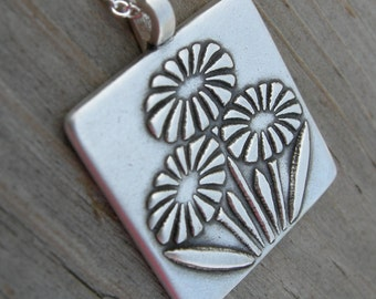 Personalized Arts and Crafts Wildflowers Sterling Pendant