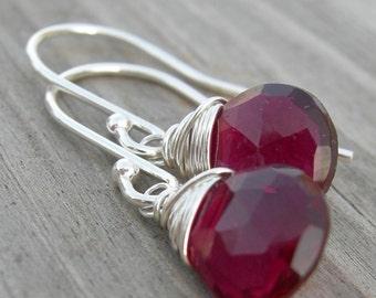 Little Raspberry Quartz Briolette Sterling Earrings