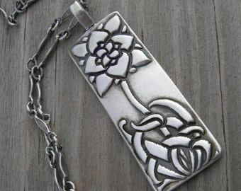 MADE TO ORDER Arts and Crafts Wildflower Sterling Pendant