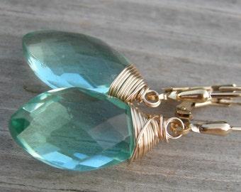 Aqua Blue Green Quartz Gold Fill Earrings