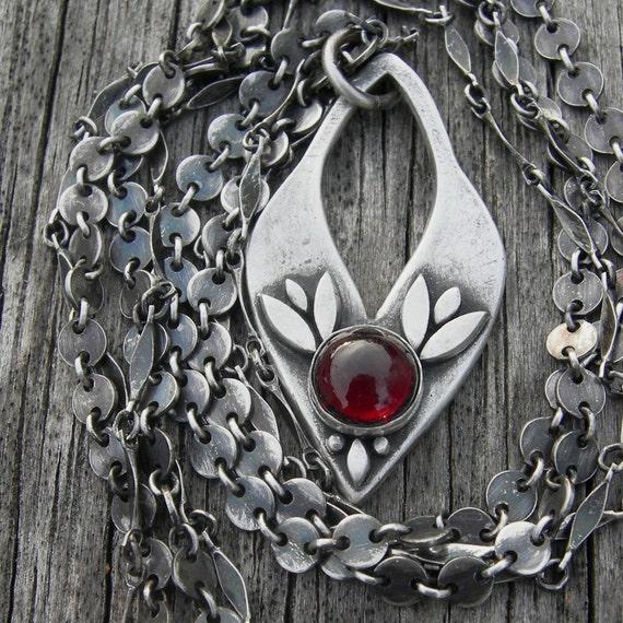 Inanna Garnet Fine Silver Pendant