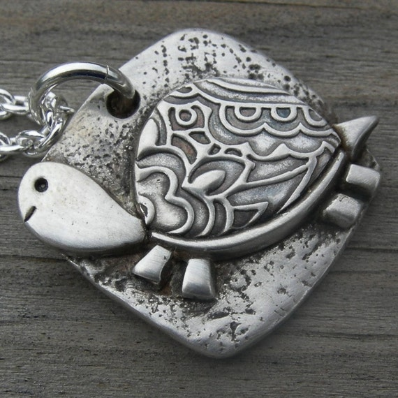 Paisley Shell Turtle Guy Pendant PMC Handcrafted Original Personalized Fine Silver