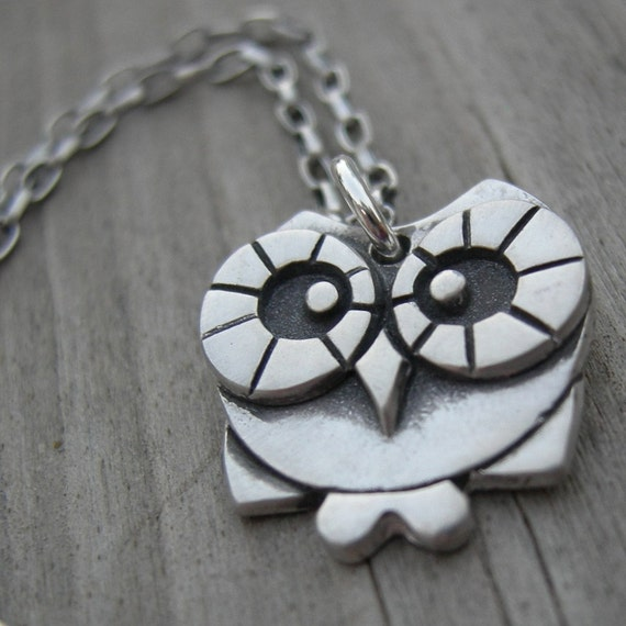 Esme, sterling silver owl pendant MADE TO ORDER