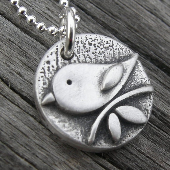 Personalized Solo Tweet Fine Silver Bird Pendant PMC Original Mom Mother Gift Handstamped