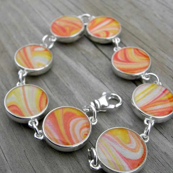 Hand-Marbleized Paper Double-Sided Resin Sterling Link Bracelet