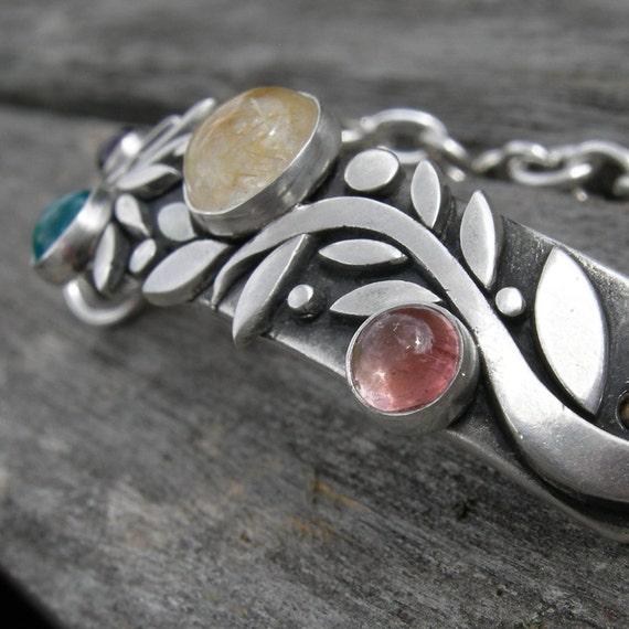 Early Harvest Bracelet Sterling Silver Tourmaline Apatite Quartz Garnet Peridot