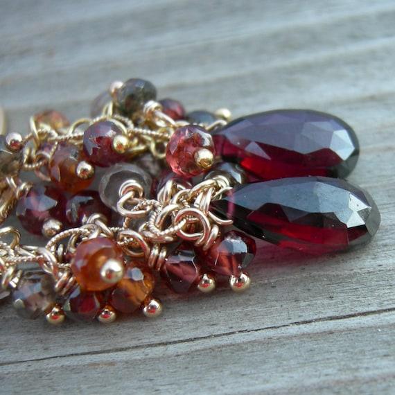 Tunduru Sapphire Garnet Gold Cascade Earrings