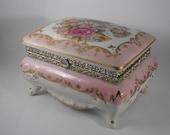 Boudoir Trinket Box Rose Florals Vintage Porcelain