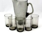 Vtg Crackle Glass Pitcher Glasses Smoke Mid Century Modern