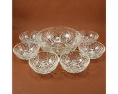 Medallion Glass Berry Dessert Bowls Set Clear Anchor Hocking Vtg 7 pc