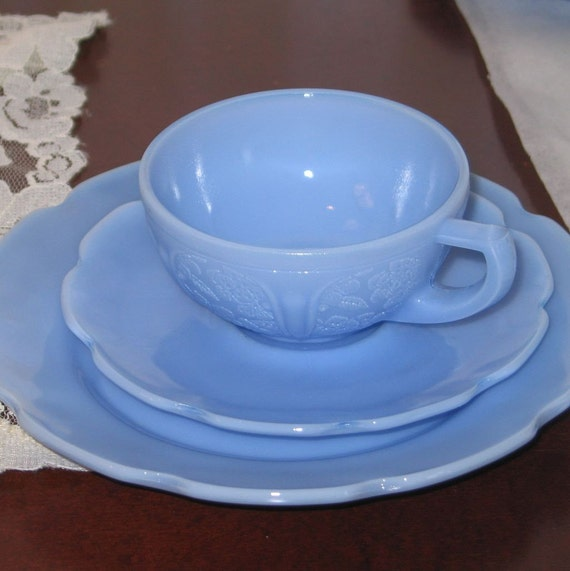 Cherry Blossom Delphite Blue Childrens Set Cup Saucer Plate