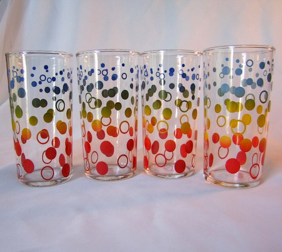 Rainbow Dot 4 Tumblers Federal Glass Mad Men