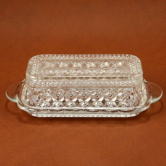 Anchor Hocking Glass Wexford Covered Butter Dish Lid Base