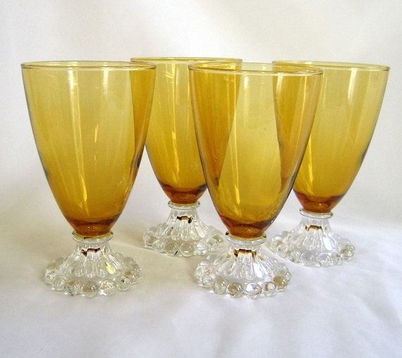 Anchor Hocking Water Goblet Set of 4 Boopie Bubble Desert Gold Amber Clear Base
