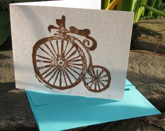 Woodblock Printed Card with Old Bicycle