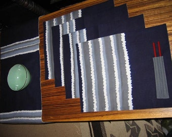 Place Mat with Chopsticks and Table Runner-4 sets