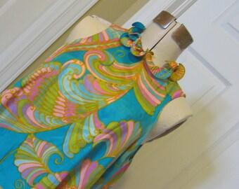 SPRING 1960s MOD Designer Dress - Pink Blue Teal -  Vintage Mini