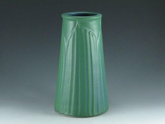 Hand Carved Matte Green Prairie Vase