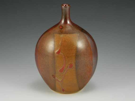 Iron Red & Tan Matte Vase With Red Slip Decoration