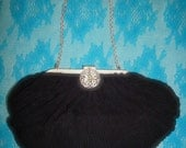 La Marquise Victorian Style Jeweled clutch in Black and Silver Uber Vintage