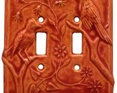 Birds Ceramic Light Switch Cover (double toggle- persimmon)