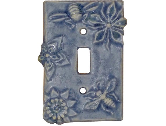 Ceramic Light Switch Cover- Honeybees Single Toggle in Light Blue Glaze
