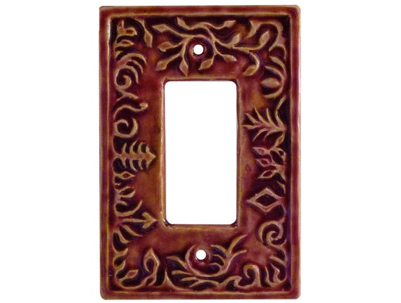 Ceramic Light Switch Cover- Whimsical Single Rocker Switch Plate in Amber Rose Glaze