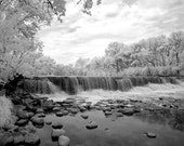 Waterfall at the Graue Mill in Oakbrook - 8x12 Fine Art Infrared Photograph