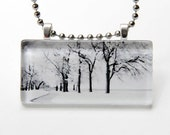 Lakefront Trees - Glass pendant with chain